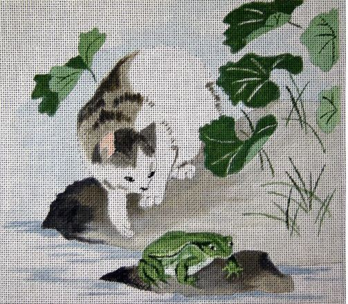 click here to view larger image of Cat and Frog (hand painted canvases)