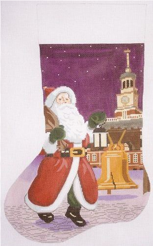 click here to view larger image of Santa with Liberty Bell Stocking (hand painted canvases)