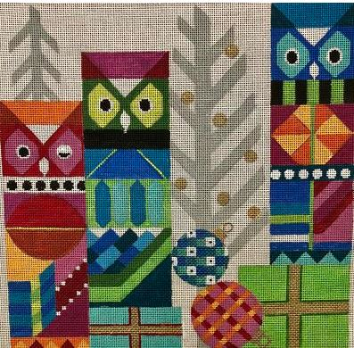click here to view larger image of Abstract Owls (hand painted canvases)