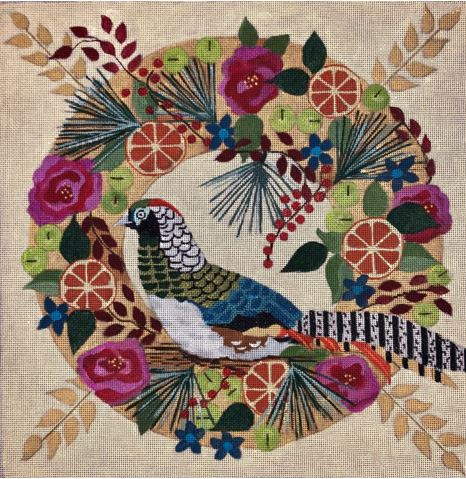 click here to view larger image of Lady Amherst Pheasant Wreath (hand painted canvases)