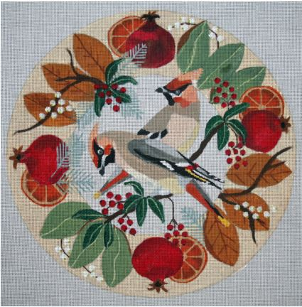 click here to view larger image of Waxwings in Wreath (hand painted canvases)