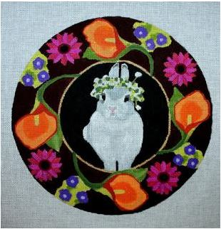 click here to view larger image of Bunny With Crown Wreath  (hand painted canvases)