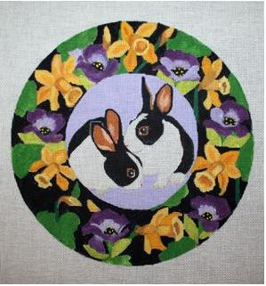 click here to view larger image of Double Bunny Wreath (hand painted canvases)