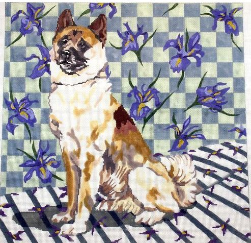 click here to view larger image of Akita and Iris (hand painted canvases)
