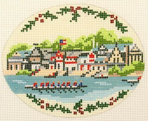 click here to view larger image of Boat House Row Ornament (hand painted canvases)