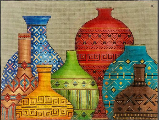 Southwestern Pots hand painted canvases
