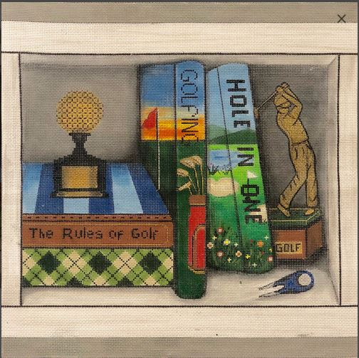 click here to view larger image of Golfing Book Nook (hand painted canvases)