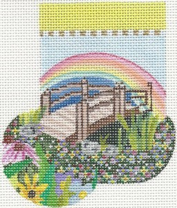 click here to view larger image of Rainbow Bridge Mini-Sock (hand painted canvases)