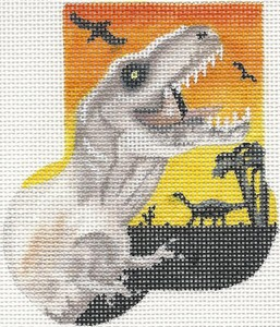 click here to view larger image of Dinosaur Mini-Sock (hand painted canvases)