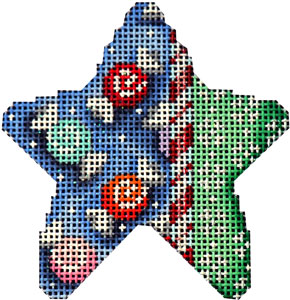 click here to view larger image of Candy Cane/Snowflakes Mini Star (hand painted canvases)
