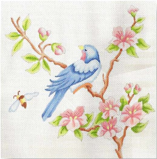 click here to view larger image of Bird & Flowers Pillow (hand painted canvases)