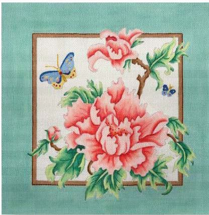 click here to view larger image of Peony - Green Border Pillow (hand painted canvases)