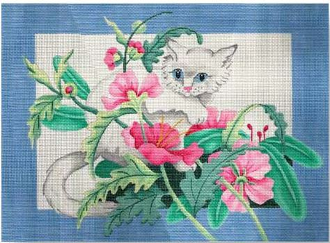 click here to view larger image of Cat - Blue Border Pillow (hand painted canvases)