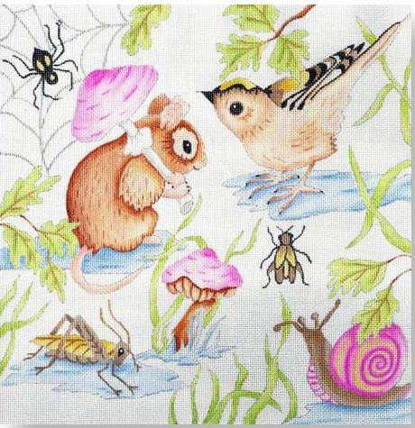 click here to view larger image of Woodland Animals Pillow (hand painted canvases)