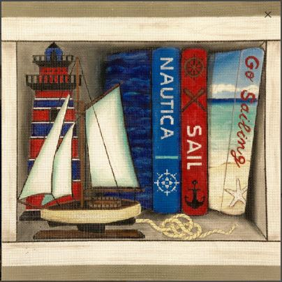 click here to view larger image of Sailing Book Nook (hand painted canvases)