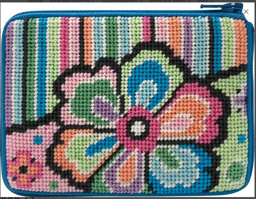 click here to view larger image of Pastel Floral on Stripes - Stitch & Zip (hand painted canvases)