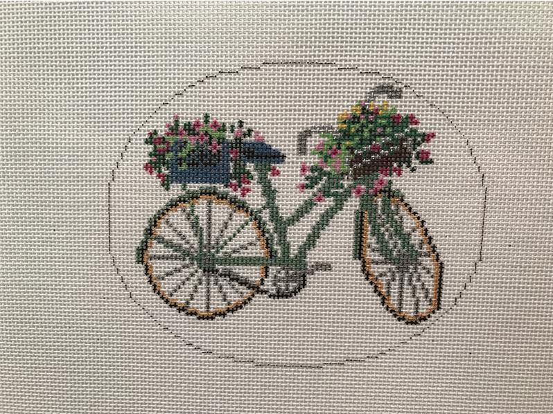 click here to view larger image of Green Bicycle with Flowers (hand painted canvases)