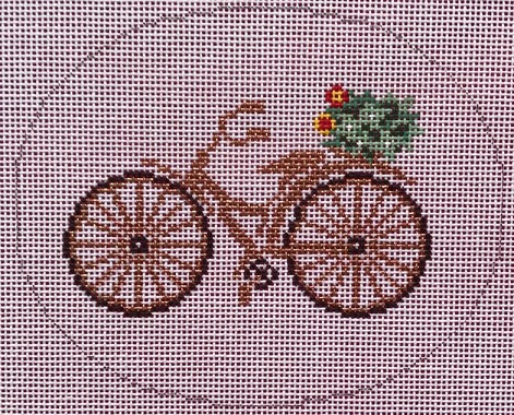 click here to view larger image of Gold Bicycle with Flowers (hand painted canvases)