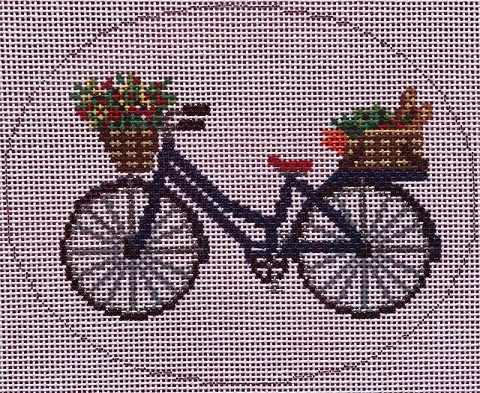 click here to view larger image of Bike with Flowers & Grocery Basket	 (hand painted canvases)