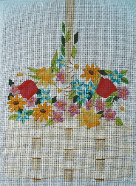 click here to view larger image of Flower Basket Tote - Large (hand painted canvases)