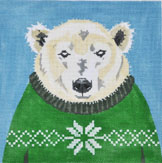 click here to view larger image of Holiday Sweater Polar Bear (hand painted canvases)