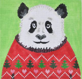 click here to view larger image of Holiday Sweater Panda (hand painted canvases)