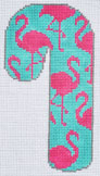 click here to view larger image of Flamingos Candy Cane  (hand painted canvases)