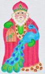 click here to view larger image of Peacock Santa  (hand painted canvases)