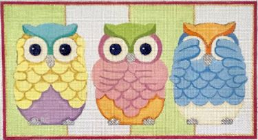 click here to view larger image of 3 Owls (hand painted canvases)