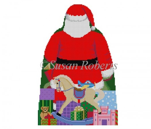 click here to view larger image of Santa with Toy Bag Tree Topper (back only) (hand painted canvases)