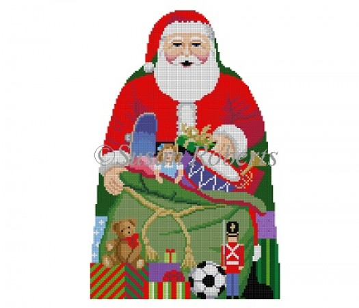 click here to view larger image of Santa with Toy Bag Tree Topper (front only) (hand painted canvases)