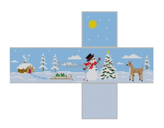 click here to view larger image of Snowman Decorating Tree (hand painted canvases)