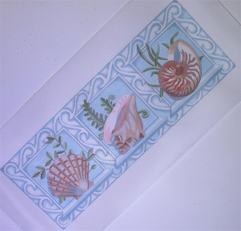 click here to view larger image of 3 Shell Bolster w/Border (hand painted canvases)