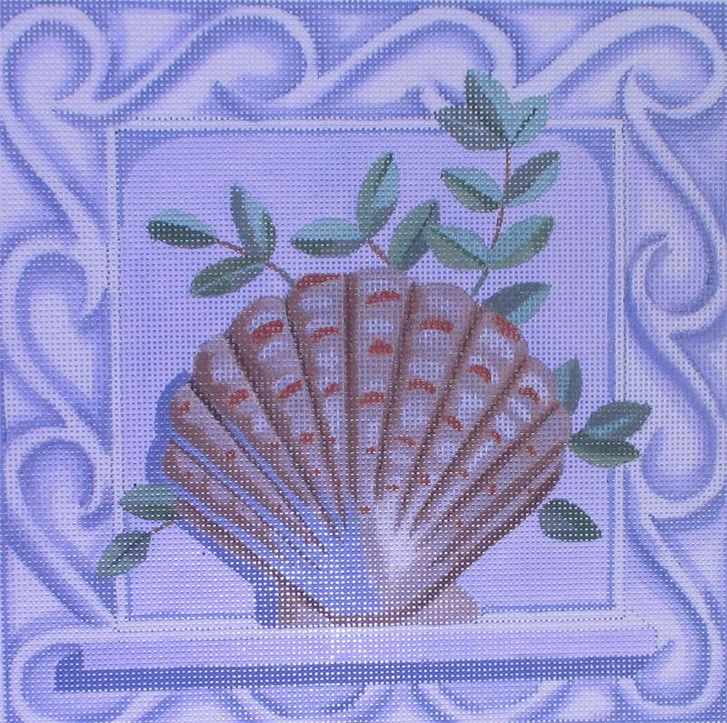 click here to view larger image of Clam Shell w/Border (hand painted canvases)