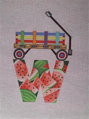 click here to view larger image of W for Wagon and Watermelon (hand painted canvases)