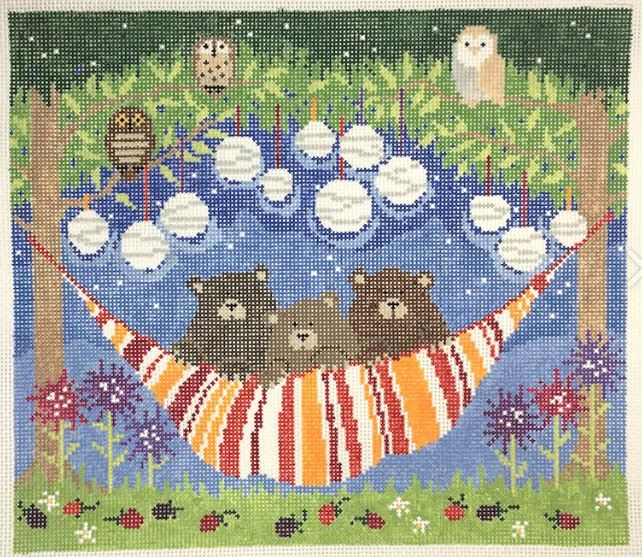 click here to view larger image of 3 Bears in a Hammock (hand painted canvases)