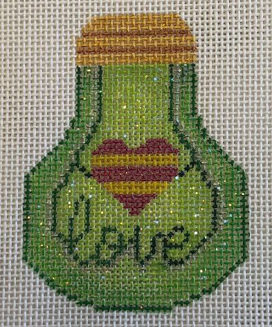 click here to view larger image of Love Light Bulb - Green (hand painted canvases)