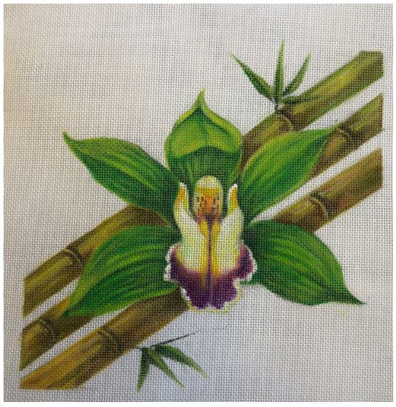 click here to view larger image of Orchids Bamboo (hand painted canvases)