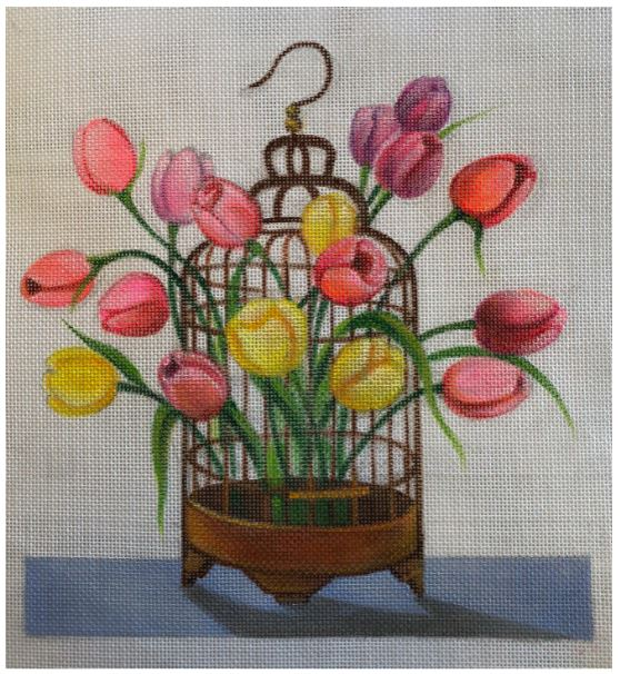 click here to view larger image of Birdcage Tulips (hand painted canvases)