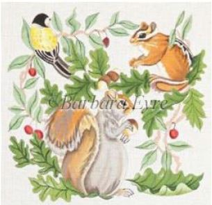 click here to view larger image of Squirrel Chipmunk and Bird (hand painted canvases)