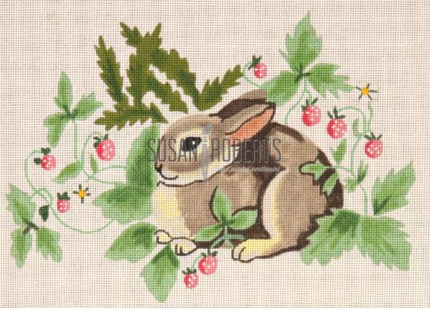 click here to view larger image of Rabbit in Strawberries (hand painted canvases)