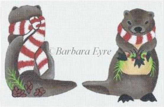 click here to view larger image of Otter With Scarf Ornament (hand painted canvases)