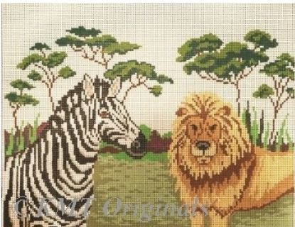 click here to view larger image of Zebra & Lion (hand painted canvases)