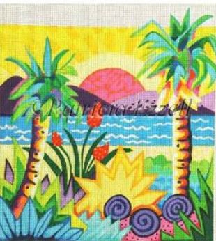 click here to view larger image of Tropical Sunset (hand painted canvases)