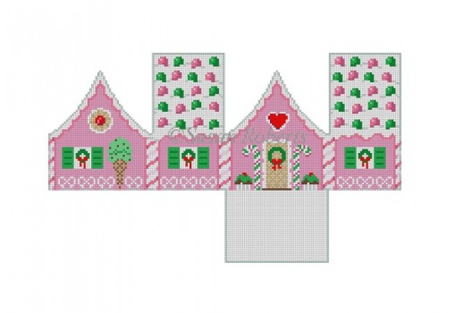 click here to view larger image of Gum Drops Peppermint Gingerbread House  (hand painted canvases)
