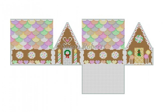 click here to view larger image of Neccos & Candy Heart Gingerbread House  (hand painted canvases)