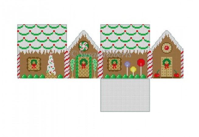 click here to view larger image of Green Scallop Roof Gingerbread House  (hand painted canvases)