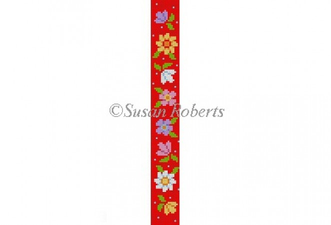 click here to view larger image of Flowers Key Fob (hand painted canvases)