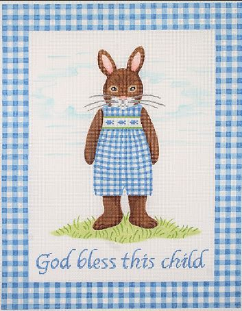 click here to view larger image of God Bless This Child - Boy Bunny (hand painted canvases)