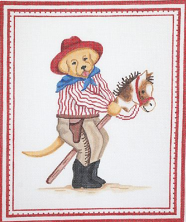 click here to view larger image of Yellow Dog Cowboy with Hobby Horse & Red Hat (hand painted canvases)